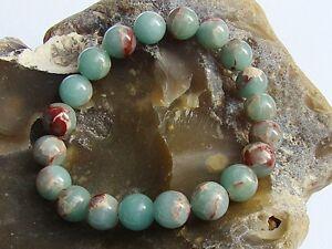 Natural Gemstone Bracelet Aqua Terra Jasper 10mm beads stretchable elasticated