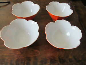 Vintage 4 Small  Petal Tulip Fingertip China Fruit  Bowl Dish  From Japan