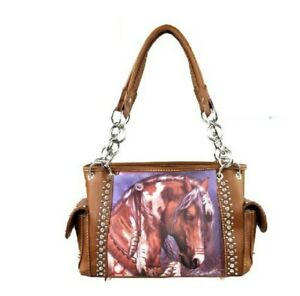 Montana West Brown Horse Purse Handbag Shoulder Bag Tote Bag