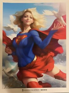 Signed SDCC Supergirl Stanley Artgerm Lau Sideshow Collectibles Print ~Superman