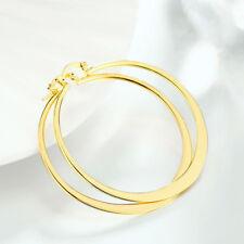 Womens18k Yellow Gold Filled Elegant 58mm Large Round Flat Hoop Earrings #E159