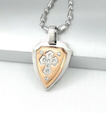"""Silver Gold Celtic Knights Shield Cross Crystal Pendant 24"""" 61cm Chain Necklace"""