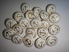 Lot Of 20 NAVY Anchor & Rope Metal Buttons For Coats And Shirts