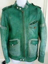 DIESEL Men's Green Leather Bomber Jacket Size M Designer