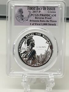 2017 Falkland Islands 1 oz Silver Britannia Rules The Waves Proof PCGS PR69 DCAM