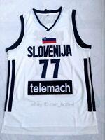 Luka Doncic Jersey 77# Slovenia Euroleague  Men's Sewn Basketball Jersey White