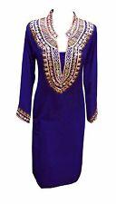 Damen Blau Indische Bollywood Tuniken Kaftan Tops sitzen Kurtis Kurta trà ¤ gt UK 6090
