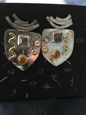 New Handcrafted SBG Sterling Silver & 14 Kt Amethyst Semiprecious Post Earrings