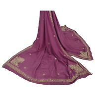 Sanskriti Vintage Dupatta Long Stole Crepe Silk Purple Hand Beaded Wrap Veil