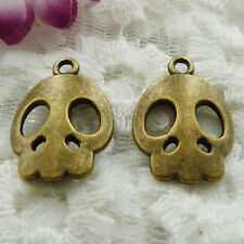 Free Ship 50 pieces bronze plated skull charms 21x15mm #146