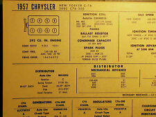 1957 Chrysler New Yorker & 300 C 392 CI V8 SUN Tune Up Chart Great Condition!
