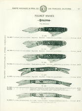 Catalog Page AdStiletto Pocket Knives Shell Handle Buffalo Horn Pearl Calif 1902
