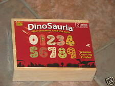 NEW Dinosauria Counting Wooden puzzles 30 pc in case