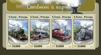 Sao Tome & Principe 2016 MNH Steam Trains Engines Locomotives 4v M/S Stamps