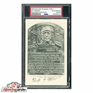 Cy Young Signed Auto B&W HOF Postcard Plaque - PSA/DNA