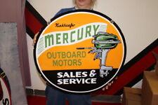 "New ListingLarge Mercury Outboard Boat Motors Fishing Gas Oil 24"" Porcelain Metal Sign"