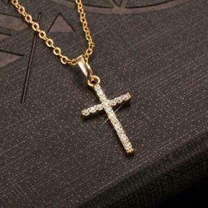 Women Men Sterling Silver Cubic Zirconia Shiny Crystal Cross Pendant Necklace
