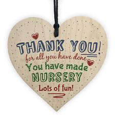 Thank You Nursery Teacher Gift Wooden Heart Sign Preschool Leaving Present