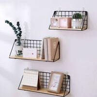 Fashion Metal Wire Basket Wall Mount Book Key Mail Rack Holder Home Room Decor