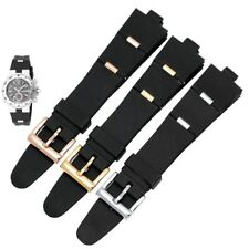 22 24 mm Black Silicone Rubber Watch Strap For Bvlgari Diagono Band Bracelet New