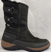 Women's Merrell Waterproof Leather Suede Black Snow Boots Winter Hiking Rain 10