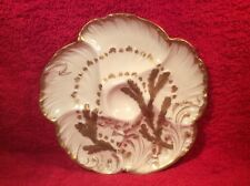 Oyster Plate Antique Oyster Plate Cream Gold Wave  Seaweed Limoges  c1882, op257