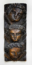 3 Angels Handcarved Wood Sculpture Wall Relief after Aleijadinho Brazil Folk Art