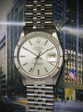 Rolex Vintage Date Steel Silver Dial Engine Turned Bezel Mens 34mm Watch 1500