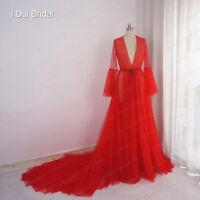 Red Boudoir Dress Tulle Boudoir Gown Long Sleeve Sheer Bridal Robe