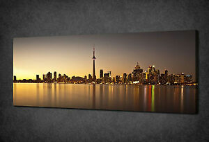 TORONTO SKYLINE SUNSET CANADA CANVAS PRINT WALL ART PICTURE READY TO HANG