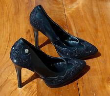 Sexy MELROSE Damen High Heels Glitter Strass Stilettos PUMPS Schwarz Schuhe 39