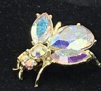 Vintage Bumble Bee Large Stone Rhinestone Brooch Pin #63