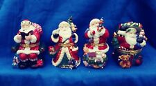 Porcelain Christmas Hand Painted Santa Hinged Trinket Boxes Traditions