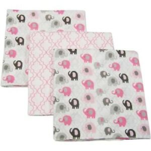 Little Bedding by NoJo Elephant Time Flannel Blanket, 3-Pack, Pink