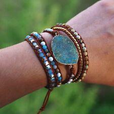 Handmade 5 Strands Wrap Bracelets Women Leather Mixed Natural Stones Bangle Gift