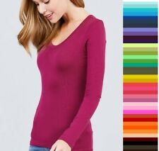 Womens T Shirt Scoop Long Sleeve Active Basic Stretch Light Weight Top T9666