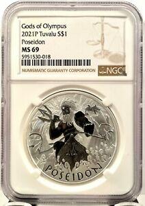 2021 Tuvalu $1 Gods of Olympus Poseidon 1 oz .9999 Silver Coin - NGC MS 69