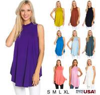 Women's Basic Solid Sleeveless Mock Neck Tunic Swing Dress Tank Top S M L XL USA
