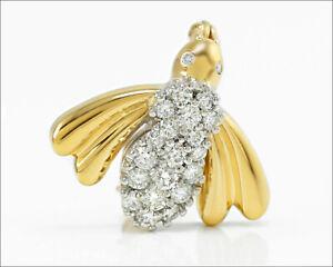 BOCK 14k Gold Diamond Fly / Bee Brooch Pin ~ 1.00 Carat TW VS / E-F