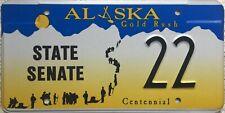 GENUINE Alaska Goldrush Centennial State Senate License Number Plate 22