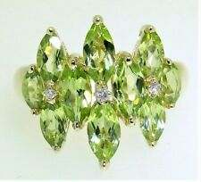9CT DIAMOND MARQUISE CLUSTER COCKTAIL RING 9 CARAT YELLOW GOLD PERIDOT  L 1/2