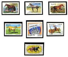 BRAZIL GROUPING OF 7 HORSE STAMPS MNH VF+ 1968 - 1988