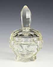 Czech Bohemia Art Glass Powder Jar, slight yellowish cast. Facet Cut, c 1900