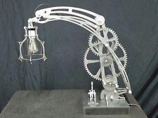 Heavy Steel steampunk style mechanical desk lamp. Industrial Age art