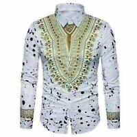 African Tribal Shirt Men Dashiki Print Succinct Hippie Blouse Casual Shirts