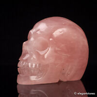 672g Large Natural Rose Quartz Crystal Carved Skull Realistic Skeleton Healing
