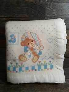 Vintage Riegel Teddy Beddy Bear Baby Swaddle Blanket USA Crib Blanket Satin Trim