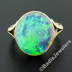 Antique Victorian 9K Gold GIA Oval Cabochon Bezel Set Yellow Opal Cocktail Ring