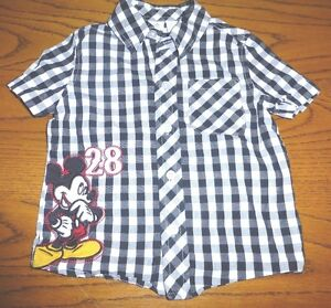 Disney Mickey Mouse Plaid Short Sleeve Shirt 100% Cotton Size 24M