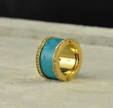 Michael Kors Golden Gold Pave Crystal Turquoise Wide Ring Size 7